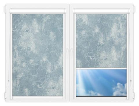 Рулонные кассетные шторы УНИ - Клаудиа-блэкаут-блу на пластиковые окна