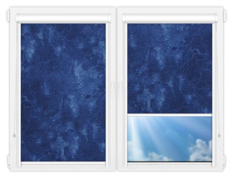 Рулонные кассетные шторы УНИ - Клаудиа-блэкаут-индиго на пластиковые окна