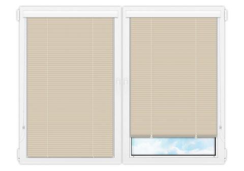 Жалюзи Изолайт 25 мм на пластиковые окна - цвет бежевый