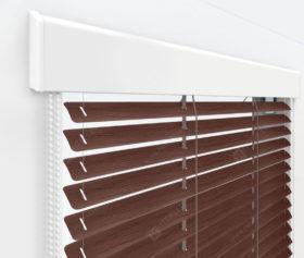 Жалюзи Изолайт 16 мм на пластиковые окна - цвет под дерево махагон коричневый