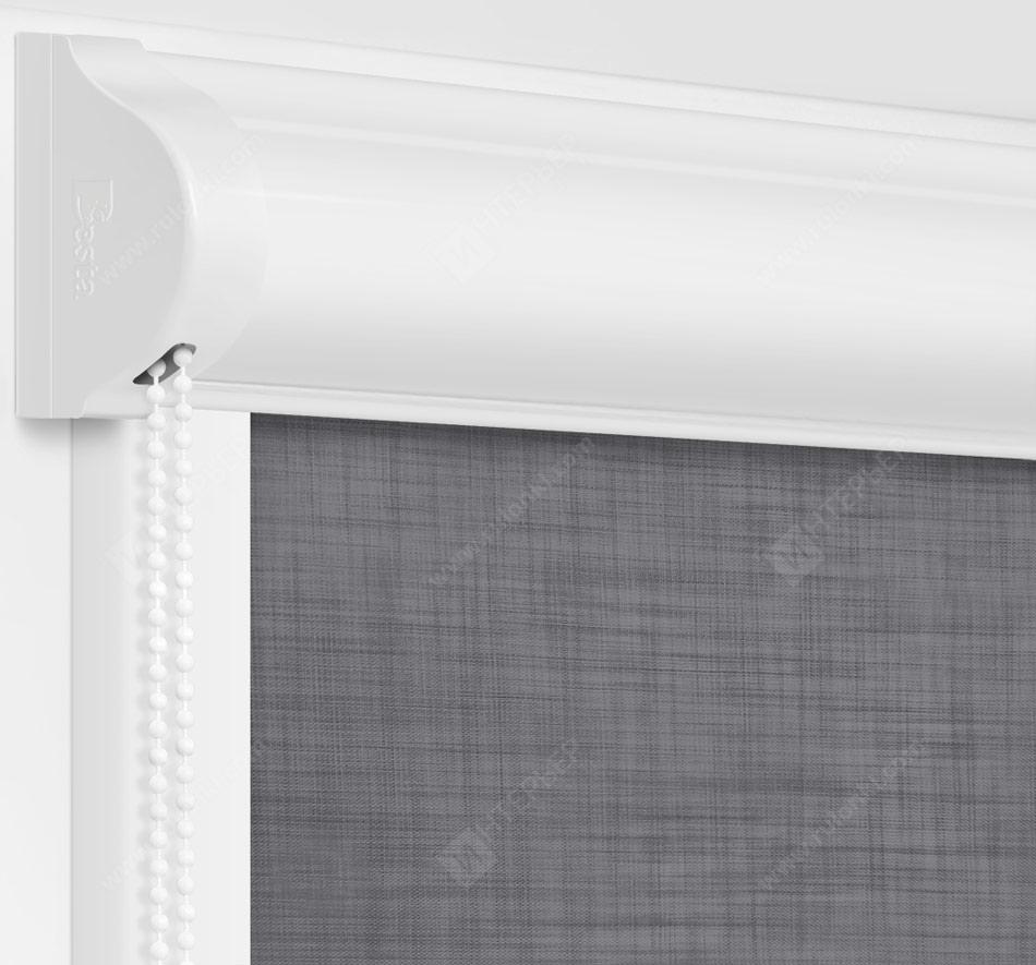 Рулонные кассетные шторы УНИ - Анже блэкаут темно-серый