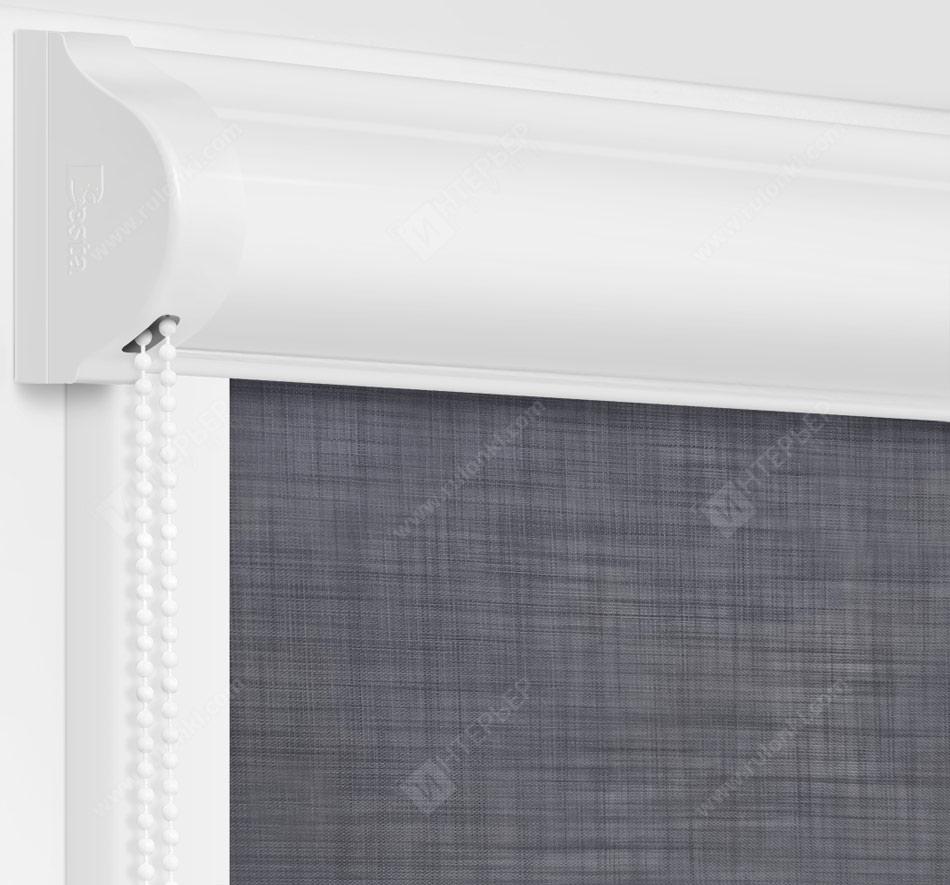 Рулонные кассетные шторы УНИ - Анже темно-серый