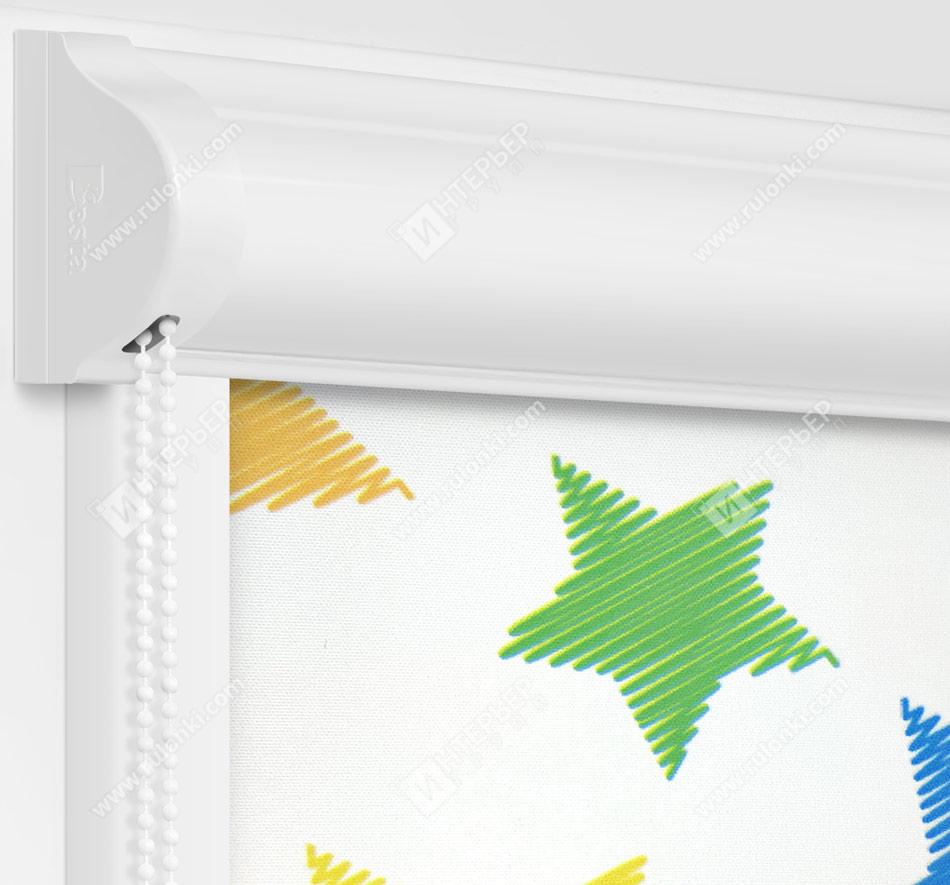 Рулонные кассетные шторы УНИ - Звездочки Блэкаут