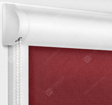 Рулонные кассетные шторы УНИ - Карина бордовый