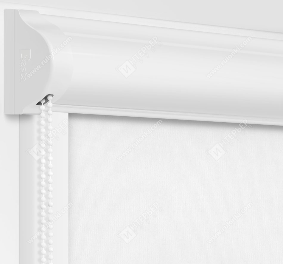 Рулонные кассетные шторы УНИ - Кейптаун фр белый на пластиковые окна