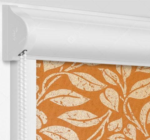 Рулонные кассетные шторы УНИ - Лейси оранжевый на пластиковые окна