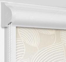 Рулонные кассетные шторы УНИ - Ницца бежевый блэкаут на пластиковые окна