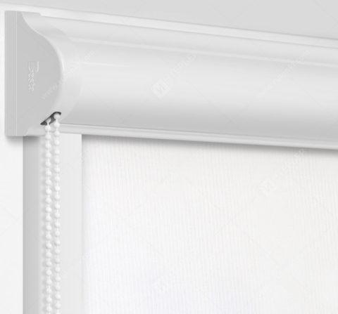 Рулонные кассетные шторы УНИ - Респект фр белый блэкаут на пластиковые окна