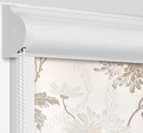 Рулонные кассетные шторы УНИ - Сиена бело-бежевый на пластиковые окна