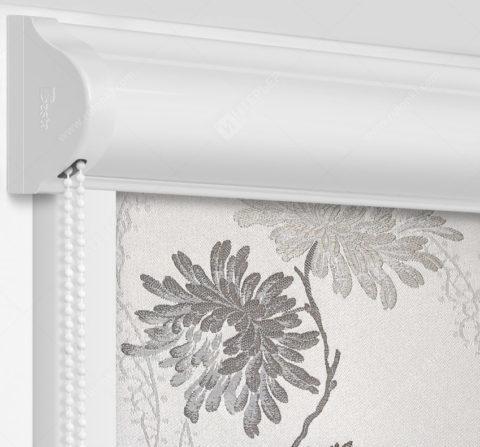 Рулонные кассетные шторы УНИ - Сиена бело-серый на пластиковые окна
