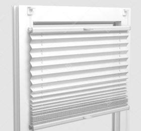 Шторы Плиссе - Базель перл белый на пластиковые окна